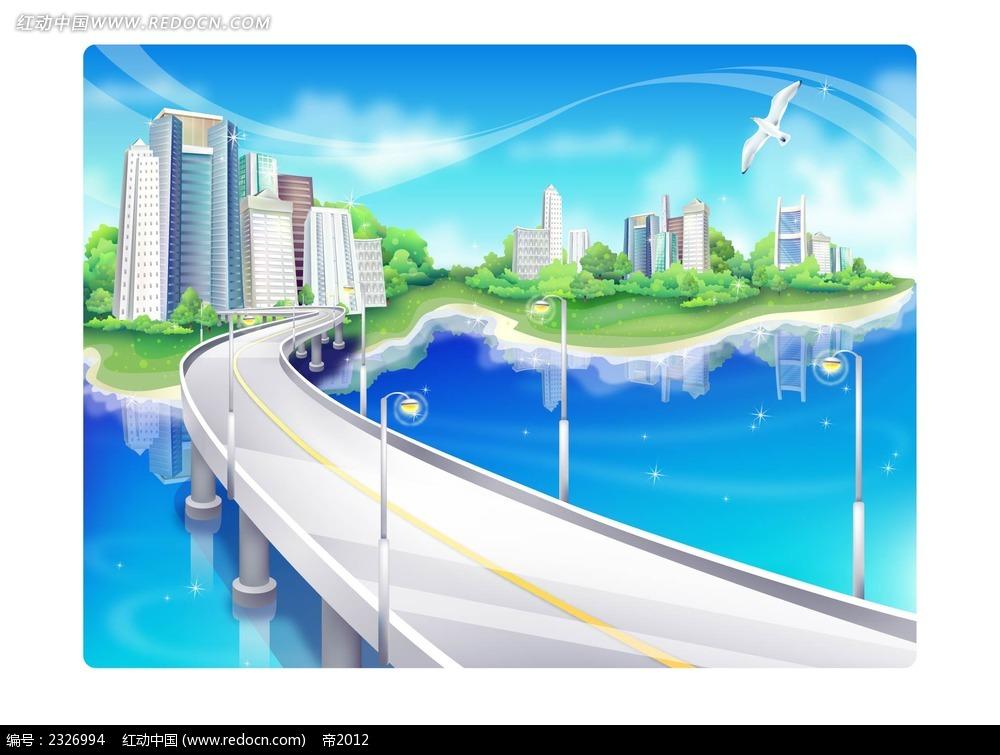 大桥城市建筑手绘背景画