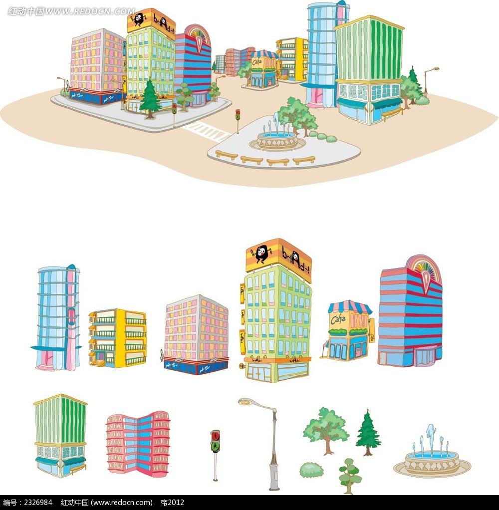 城市商场道路设施手绘图形ai素材免费下载_红动网