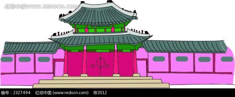 古亭古建筑手绘图形