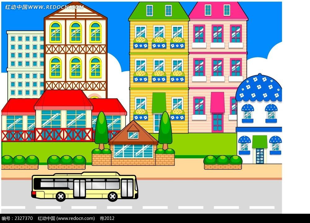 都市街景卡通画
