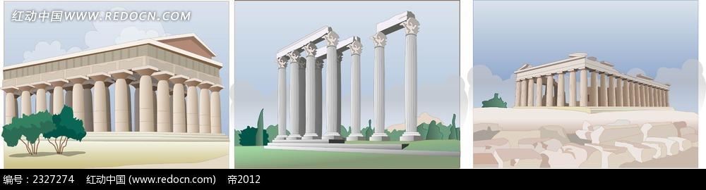 罗马柱子罗马建筑手绘图形