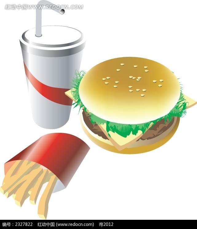 汉堡包薯条可乐手绘立体图形