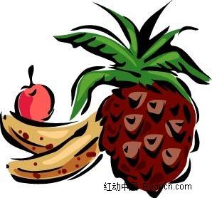 菠萝香蕉樱桃手绘立体图形