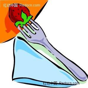 叉子草莓手绘立体图形