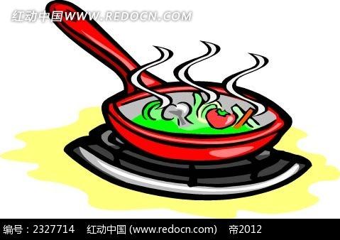 蔬菜砂锅面手绘立体图形