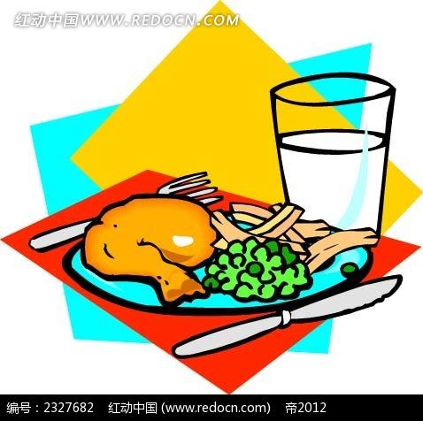 鸡腿蔬菜牛奶手绘图形
