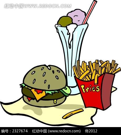 汉堡包薯条冰沙手绘立体图形