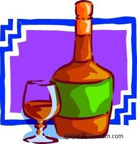红酒手绘边框画矢量图