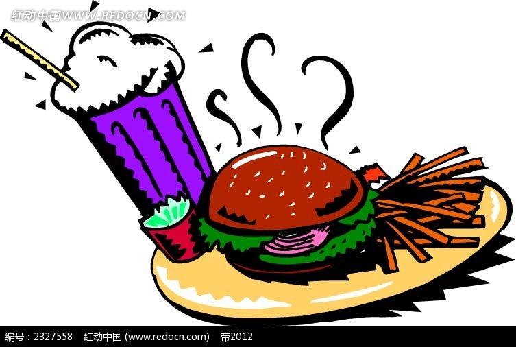 汉堡可乐薯条手绘图形