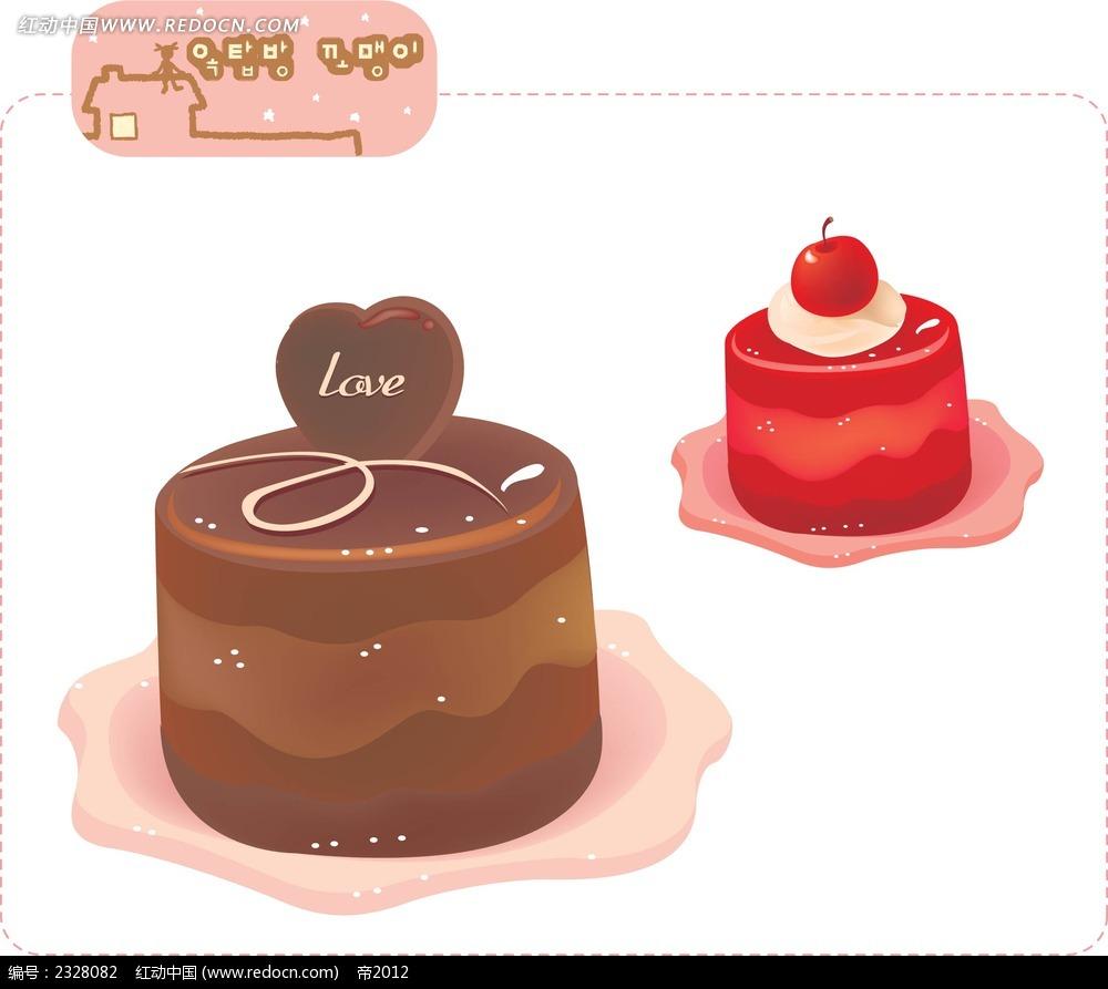 巧克力水果蛋糕手绘图