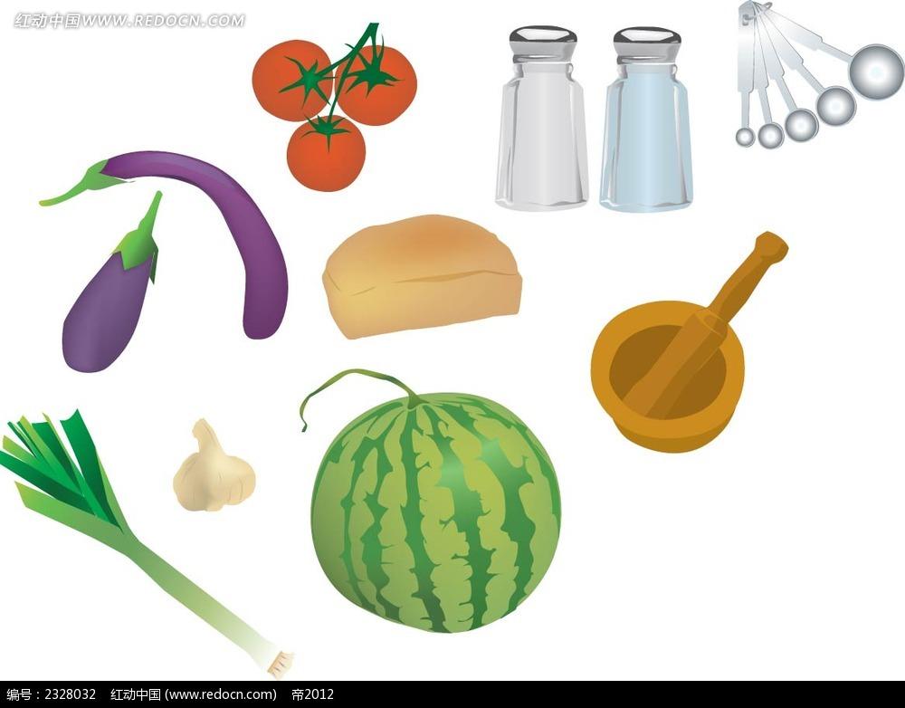蔬菜水果厨具手绘立体图形图片