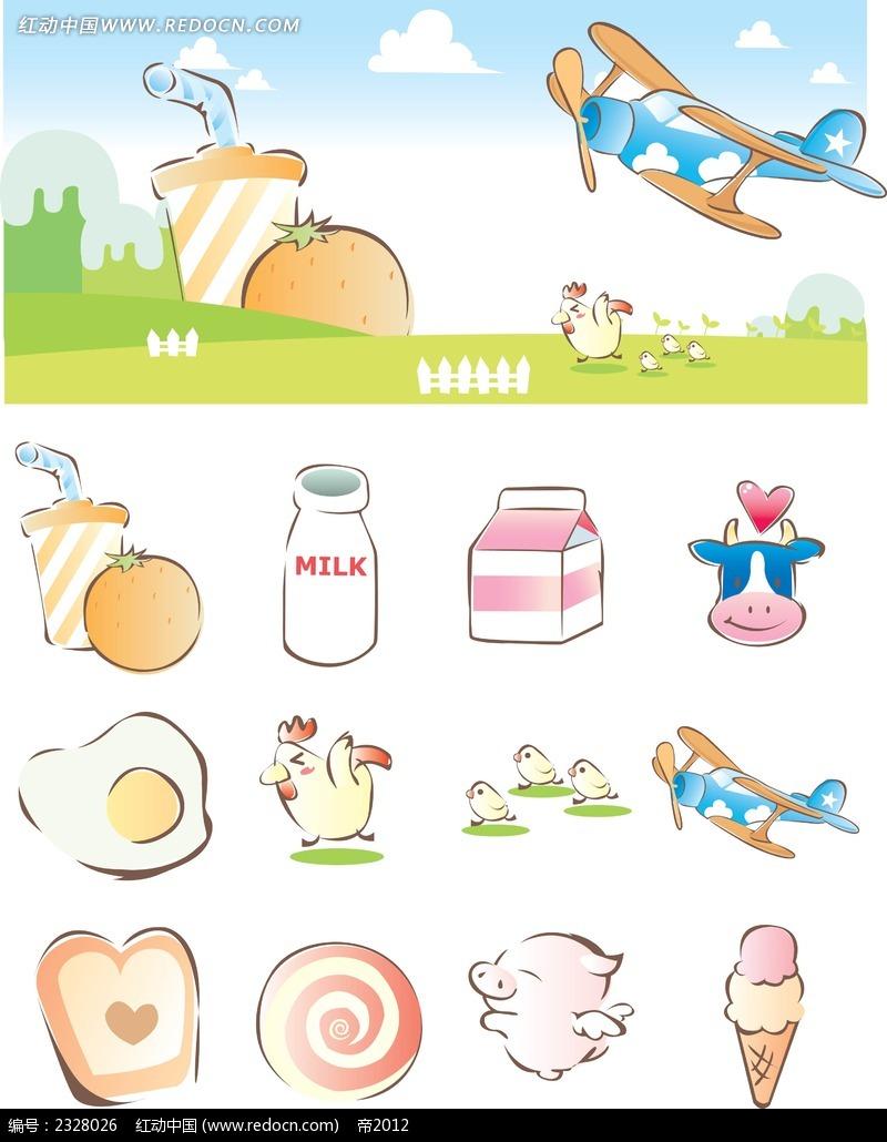 动物美食手绘背景画