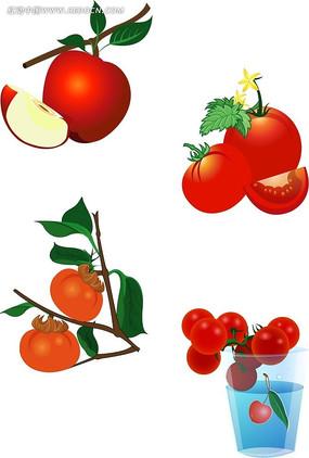 生活百科 蔬菜水果 柿子手绘图形设计  苹果西红柿柿子手绘立体图形