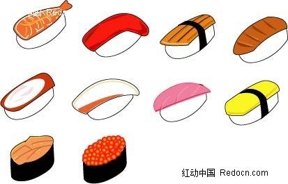 美味小吃手绘立体图形图片