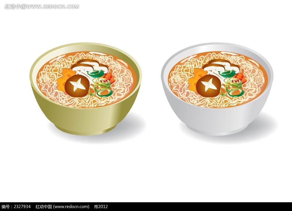 香菇大葱面条手绘画图片