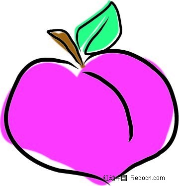 桃子手绘线描图形
