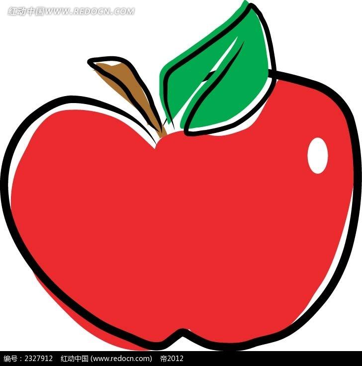 红苹果手绘线描图形