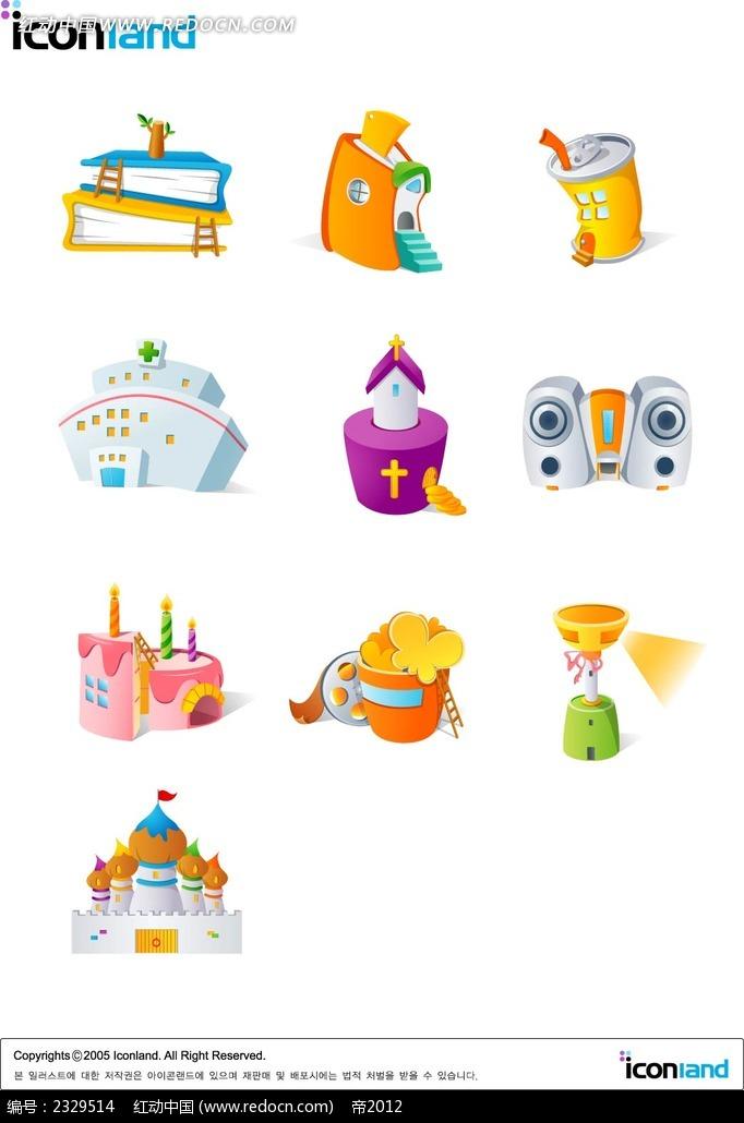 城堡音响教堂手绘立体图形图标图片