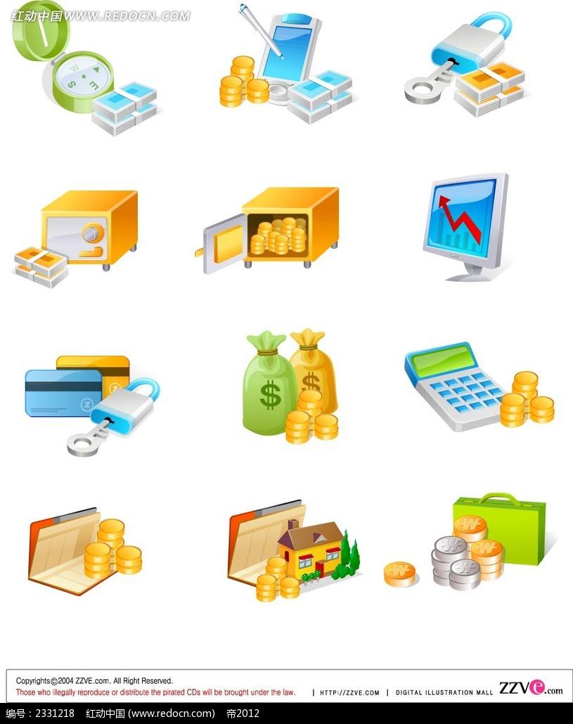 金钱银行卡手绘立体图形