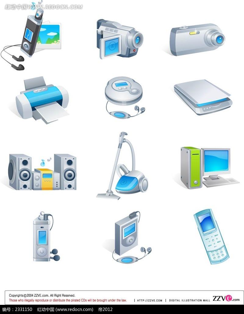 科技电子产品手绘立体图形