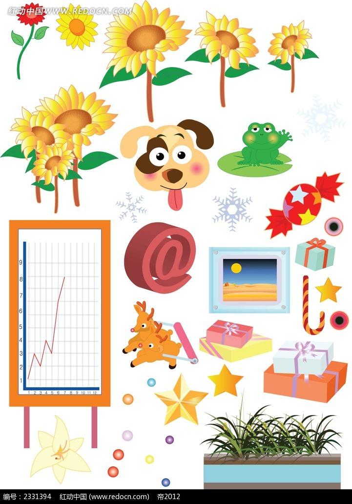鲜花动物礼物手绘立体图形图片