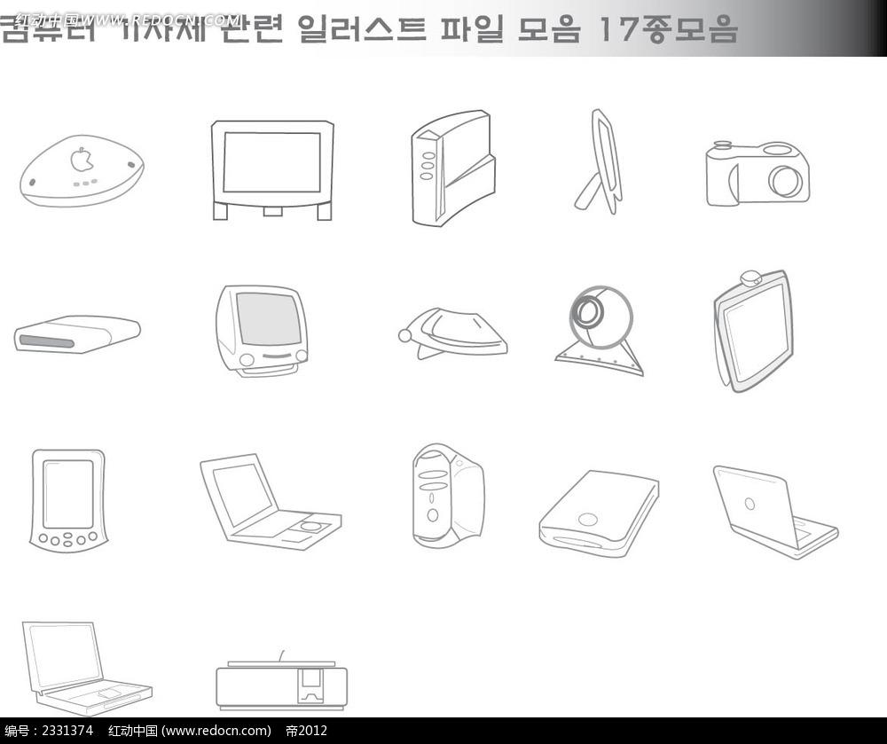 电子科技产品手绘线描画