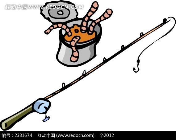 钓鱼竿诱饵手绘画