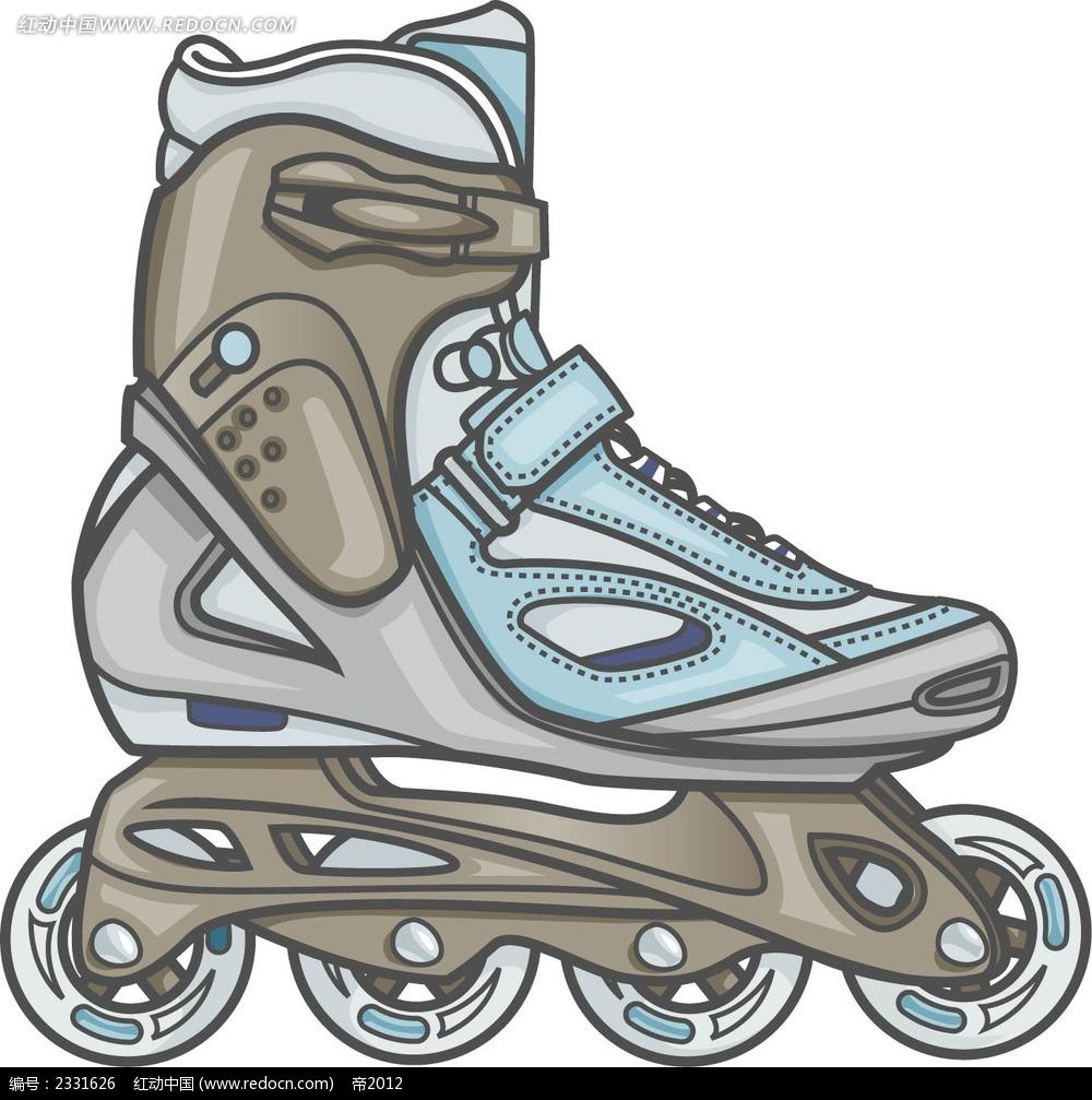 溜冰鞋手绘线描画