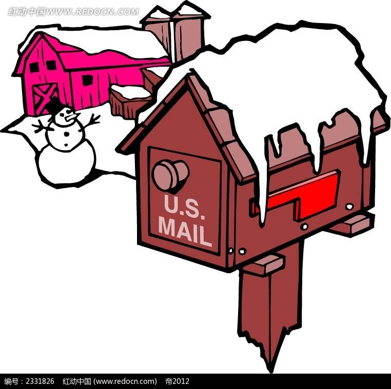 乡村雪景雪人邮筒手绘画