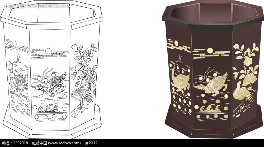 乌龟花纹图案储物桶手绘线描画