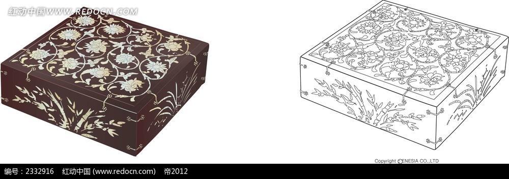 花纹图案储物柜手绘线描画