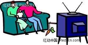 一家三口坐在沙发上看电视手绘画AI素材免费下载 红动网