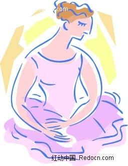 跳芭蕾舞的美女手绘画