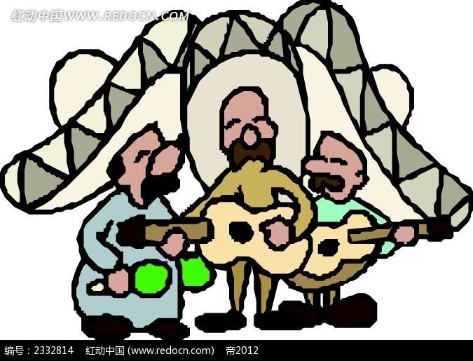 三个吉他手歌手手绘画