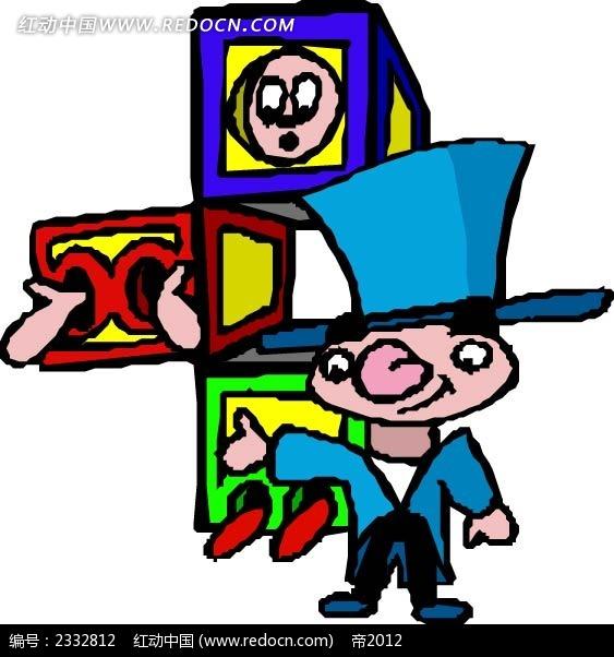 魔术师变魔术手绘背景画