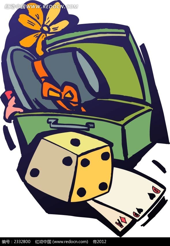 行李箱骰子扑克牌手绘图形