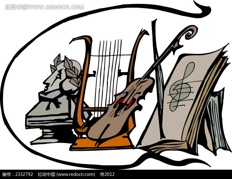吉他琴谱手绘背景画