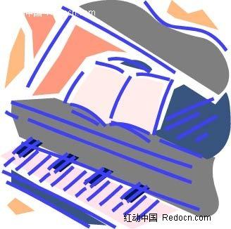 钢琴手绘图形图片