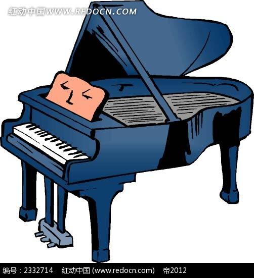 蓝色钢琴手绘线描画