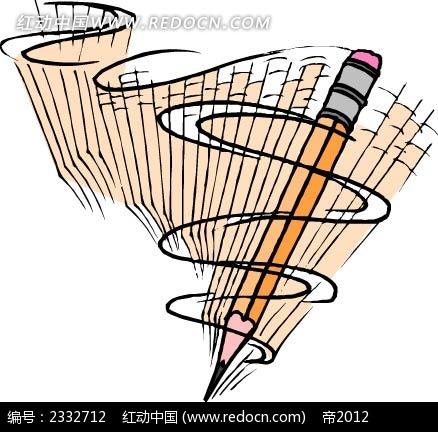 旋转的铅笔手绘线描图
