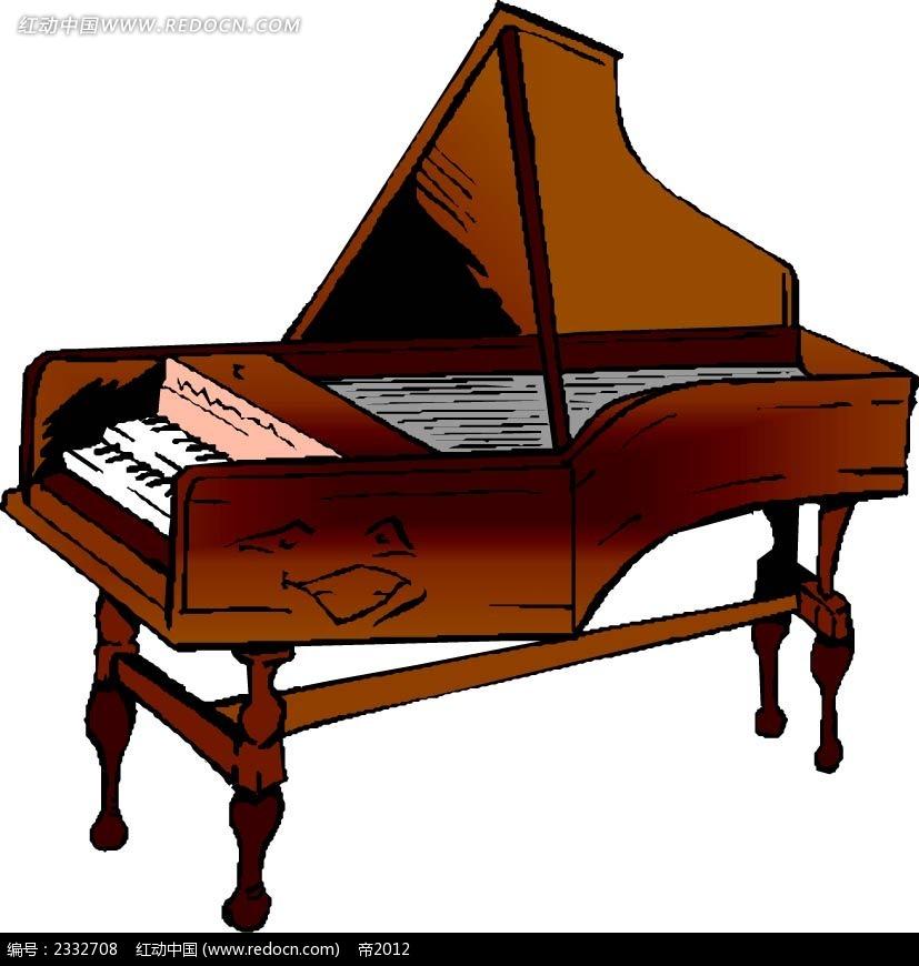 木质钢琴手绘画