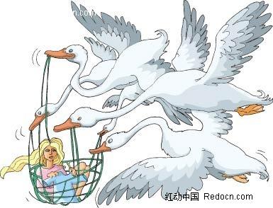 美女天鹅手绘背景画