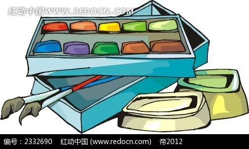 颜料颜料盒手绘图形