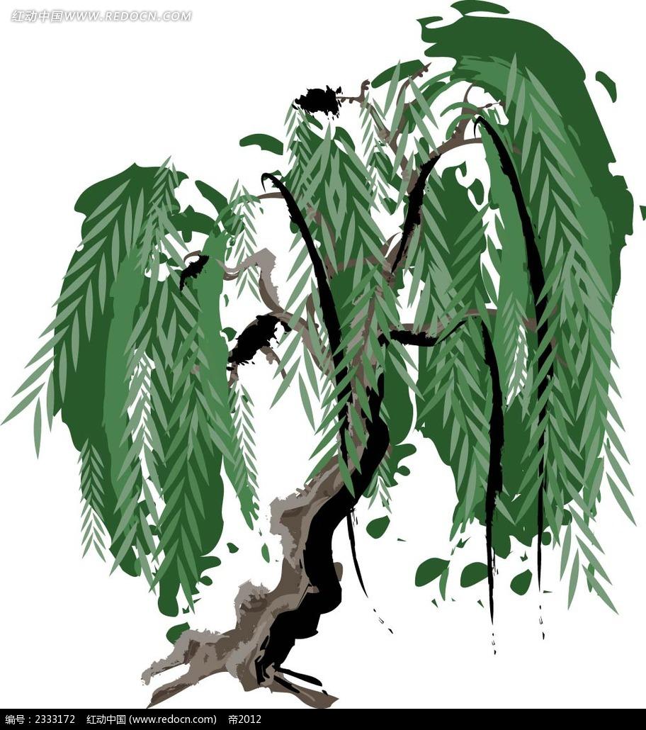 炭笔画柳树AI素材免费下载 编号2333172 红动网