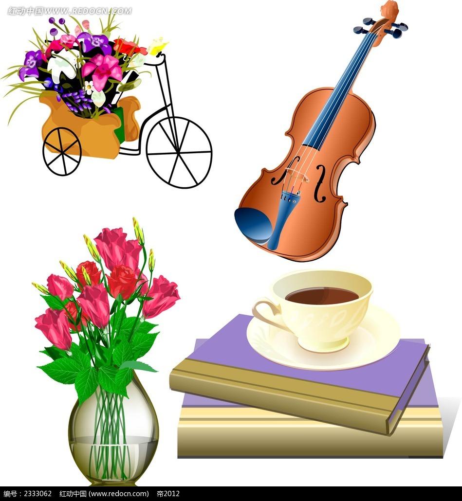 鲜花电子琴书本咖啡手绘图形