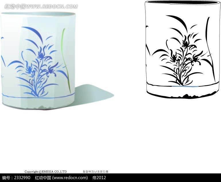 花纹图案笔筒手绘画