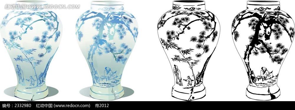 梅花图案手绘线描青花瓷