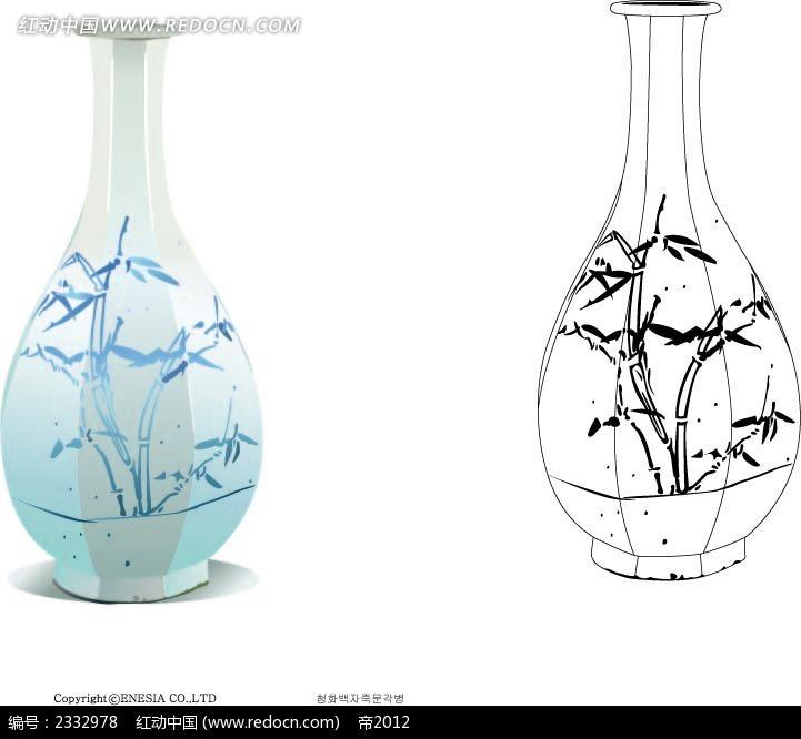 竹纹图案花瓶手绘线描图