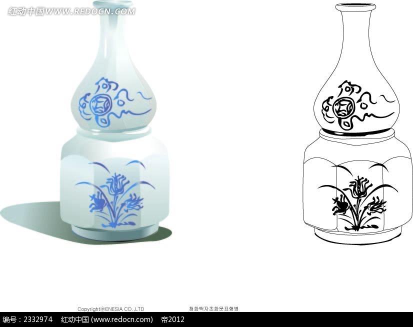 中国花纹图案花瓶手绘线描画