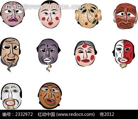 木偶人脸谱手绘图案_其他_红动手机版